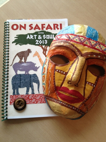 Welcome Book and mask I decorated to take with me